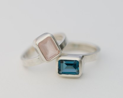 London Blue Topaz and Rose Quartz stacking rings in silver