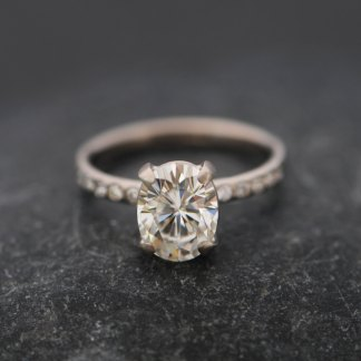 Forever Brilliant Moissanite ethical alternative to diamonds set in white gold ring