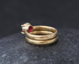 ruby wedding set in 18K y gold