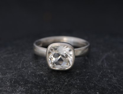 white topaz square stone set in sterling silver ring