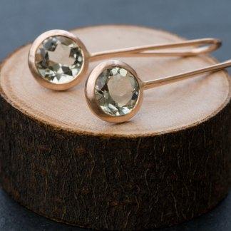 Pale green amethyst lollipop earrings in rose gold. By William White