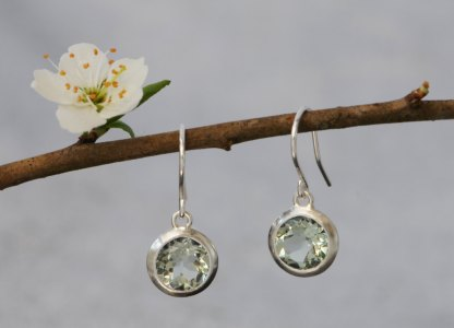 Lovely little green amethyst drop earrings, set in sterling silver. These clean and simple earrings are designed & handmade by William White in Cornwall, UK