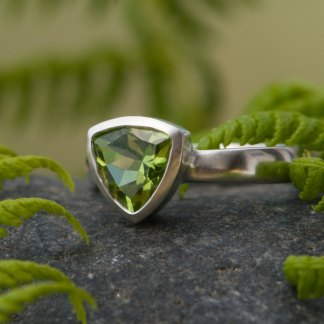 Apple green peridot trillion ring in sterling silver by William White