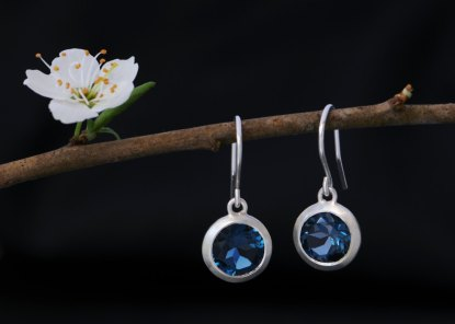 London Blue Topaz drop earrings in sterling silver. By William White