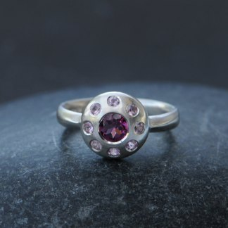 Rhodolite garnet and pink sapphire multi-stone ring in silver