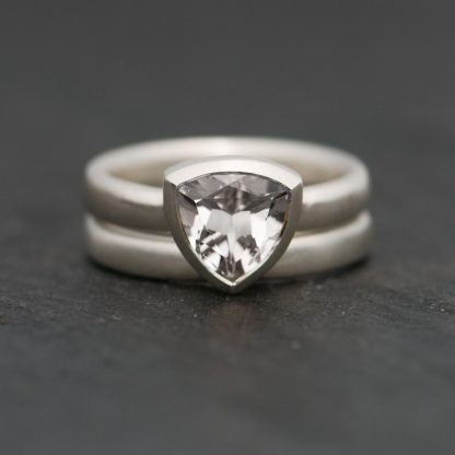 trillion cut topaz ring and wedding band in sterling silver