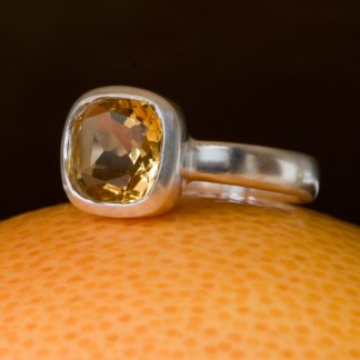 yellow citrine solitaire set in silver ring