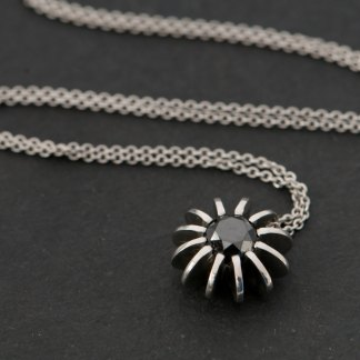 Black diamond Sea Urchin necklace, set in satin finished platinum. Diamond 6.5mm across , 1 carat. by William White