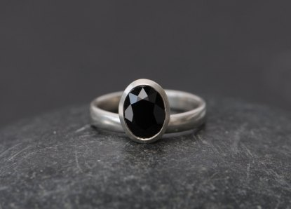 Black Spinel stacking ring in silver