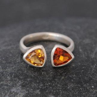 Orange citrine double trillion ring set in silver