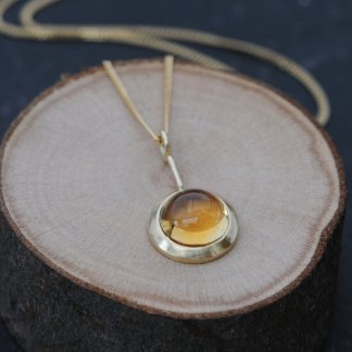 Beautiful citrine cabochon 'Lollipop' necklace, set in 18k yellow gold. Designed and handmade by William White with a choice of 18k gold chain lengths.