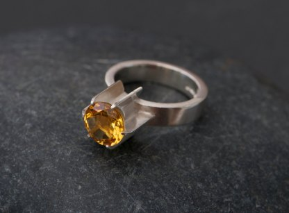 Citrine fin ring featuring lovely orange yellow citrine in sterling silver