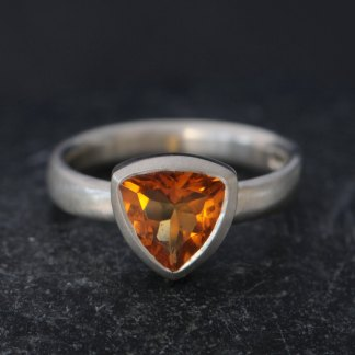 elegant citrine trillion ring set in silver
