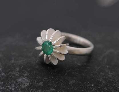 Green emerald sea urchin ring in silver