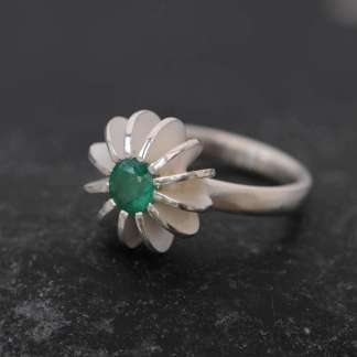 Green emerald sea urchin ring in silver