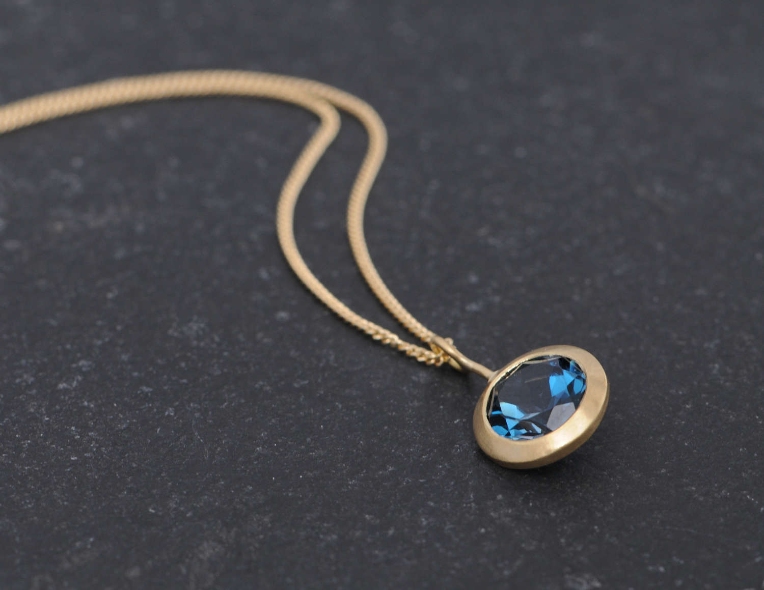 London blue topaz lollipop necklace in 18k gold william white bright london blue topaz pendant set in recycled gold on a gold chain this aloadofball Gallery