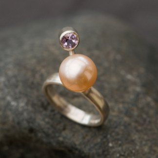 Peach pearl and pale purple amethyst statement ring in silver