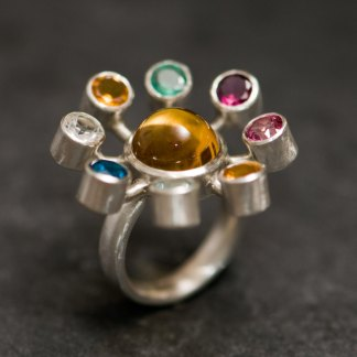 Multi-stone solar system statement ring in silver