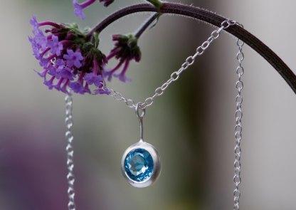 Swiss Blue Topaz lollipop necklace in silver by William White