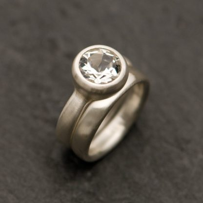 White topaz wedding ring set