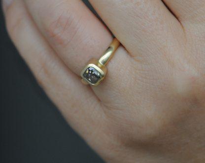 brown diamond cushion cut ring 18K yg on hand. 2