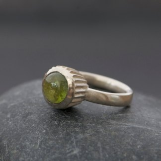 Tourmaline cupcake design ring in silver.