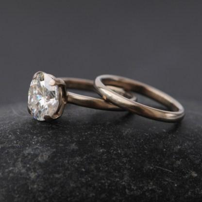 moissanite oval wedding set in 18K white gold 2