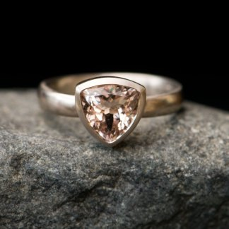 morganite trillion ring in 18K white gold
