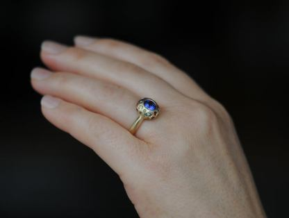 tanzanite button ring on hand