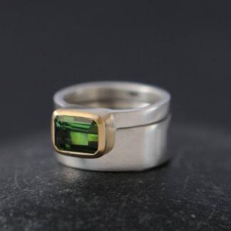 Green tourmaline wedding set mixed 18K gold
