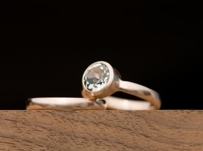 green amethyst wedding set in 18K rose gold