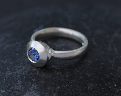 blue sapphire medieval ring in silver