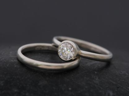 0.5 carat diamond 5mm platinum wedding set