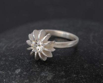moissanite sea urchin ring in silver