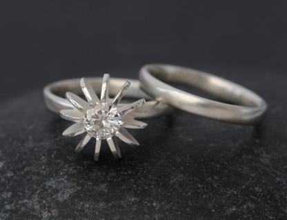 moissanite sea urchin wedding set in silver