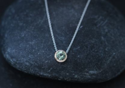 green sapphire 7mm cup necklace in 18K rose gold and white gold chain