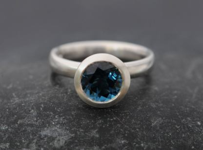 london blue topaz 8mm halo ring silver
