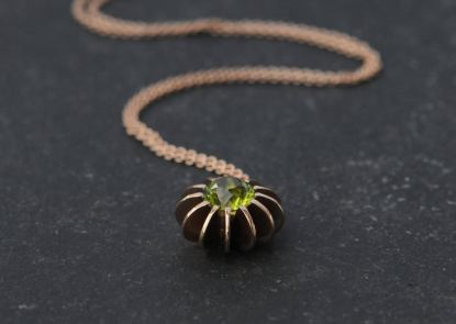 peridot sea urchin necklace 18K rose gold