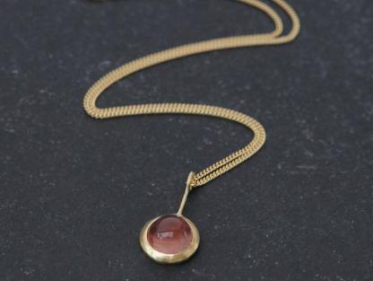 sunstone cab 8mm lollipop necklace 18K gold