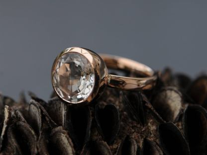 white topaz 12mm cup ring 18K rose gold