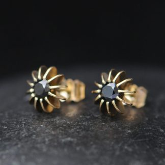black diamond sea urchin stud earrings in 18K yellow gold