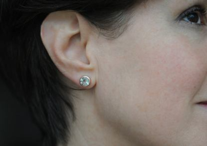 green amethyst studs in 9k rose gold
