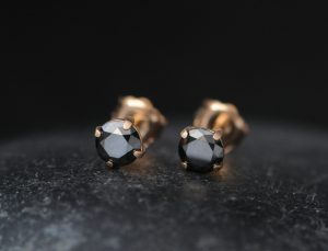 black diamond 5mm stud earrings 18K rose gold