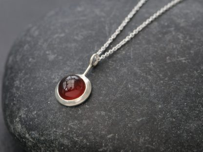 hessonite garnet cab lollipop necklace in silver