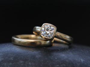 moissanite 6mm cushion wedding set in 18K yellow gold
