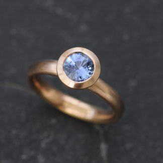 cornflower blue sapphire halo ring 18K rose gold