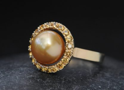 gold pearl 10mm halo ring with yellow sapphires 18K Y Gold