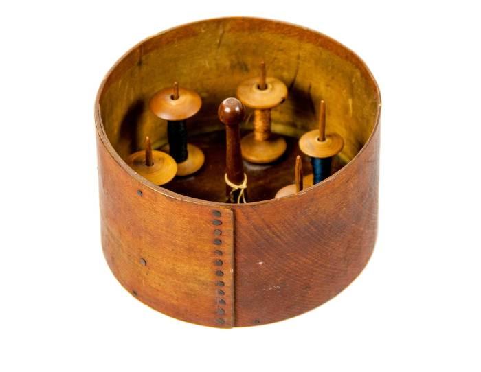 Lot 29: Spool Holder, Spools, and Dry Measure