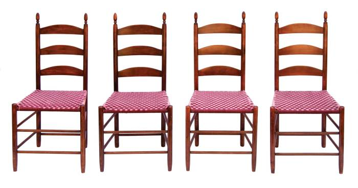 Lot 91: Rare Set of Eight Three-Slat Side Chairs