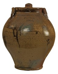 Lot 115: Early 19th C. Ovoid Shaped Stoneware Crock